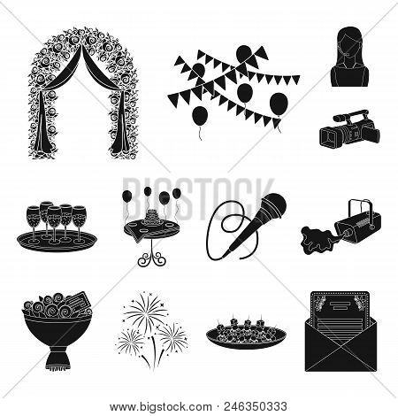Event Organisation Black Icons In Set Collection For Design.celebration And Attributes Vector Symbol