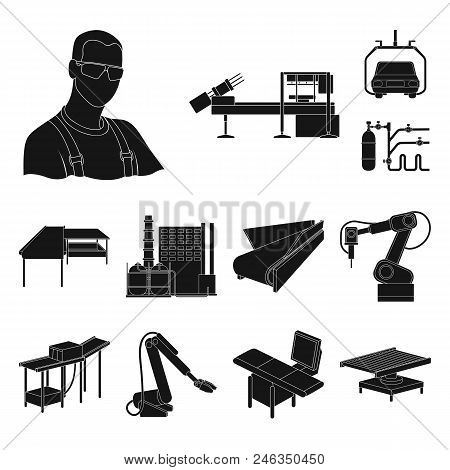 Equipment And Machine Black Icons In Set Collection For Design. Technical Progress Of The Factory Ve