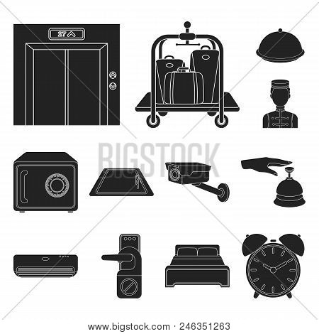 Hotel And Equipment Black Icons In Set Collection For Design. Hotel And Comfort Vector Symbol Stock