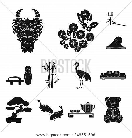 Country Japan Black Icons In Set Collection For Design.japan And Landmark Vector Symbol Stock  Illus