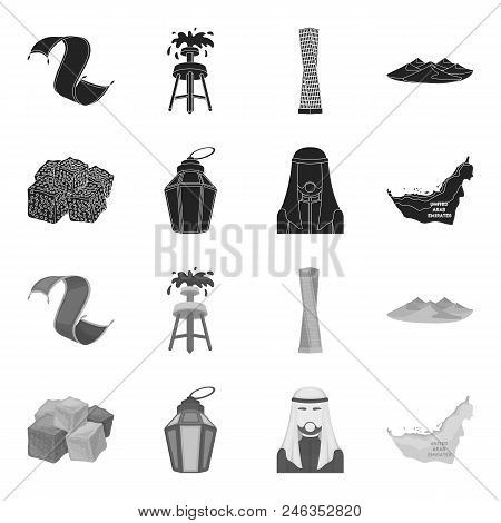 Eastern Sweets, Ramadan Lamp, Arab Sheikh, Territory.arab Emirates Set Collection Icons In Black, Mo