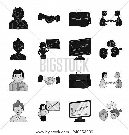 Businesswoman, Growth Charts, Brainstorming.business-conference And Negotiations Set Collection Icon