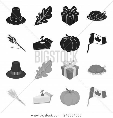 Spike Of Wheat, A Piece Of Pie With Cranberries, Pumpkin, National Flag.canada Thanksgiving Day Set