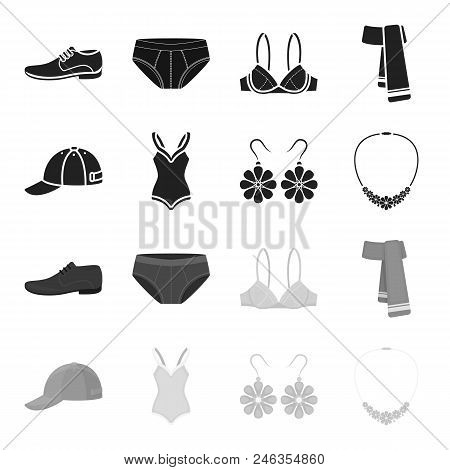 Cap, Earrings, Necklace, Swimsuit. Clothing Set Collection Icons In Black, Monochrome Style Vector S