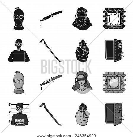 Photo Of Criminal, Scrap, Open Safe, Directional Gun.crime Set Collection Icons In Black, Monochrome