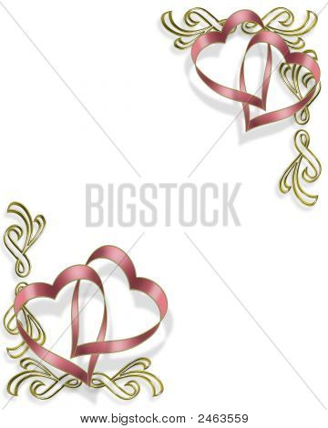 Pink Heart Ribbons Invitation