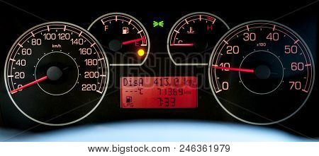Italian Car Dashboard With Odometer And Rev Counter