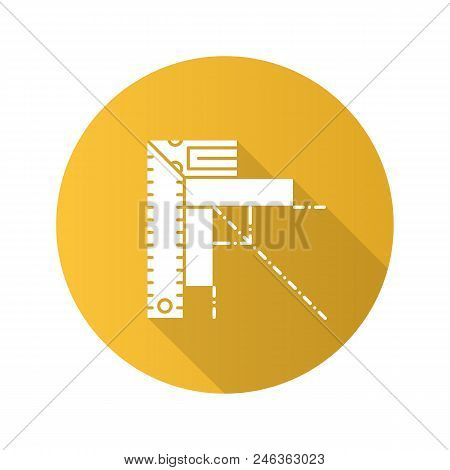 Set Square Flat Linear Long Shadow Icon. Angle Measurement. Ruler With Angle Bar. Vector Outline Sym