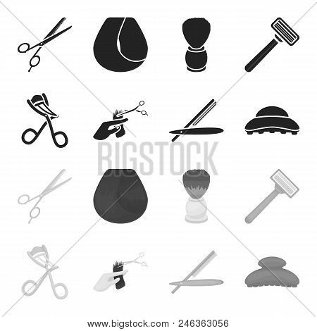 Scissors, Brush, Razor And Other Equipment. Hairdresser Set Collection Icons In Black, Monochrome St