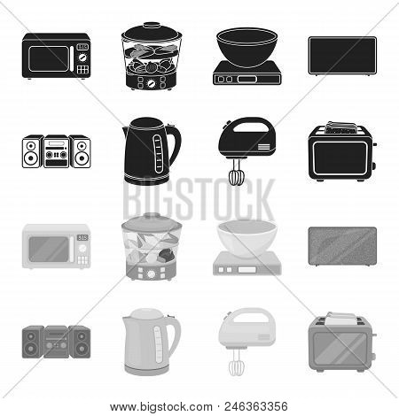 Electric Kettle, Music Center, Mixer, Toaster.household Set Collection Icons In Black, Monochrome St