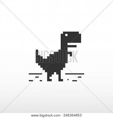 No Internet Connection. Offline Error. Web Page Not Loading. Black Dinosaur. Vector Illustration.