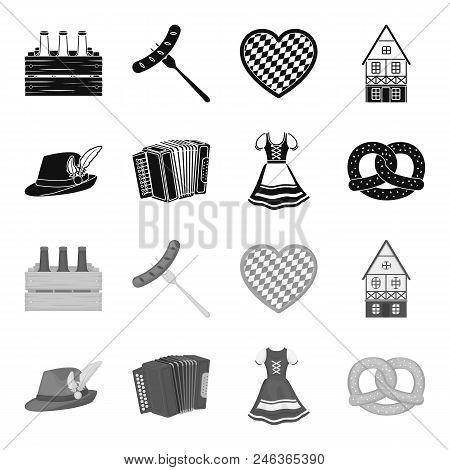 Tyrolean Hat, Accordion, Dress, Pretzel. Oktoberfest Set Collection Icons In Black, Monochrome Style