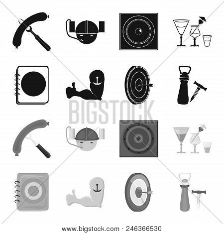 Menu, Armor With Tattoo, Darts, Corkscrew And Opener.pub Set Collection Icons In Black, Monochrome S