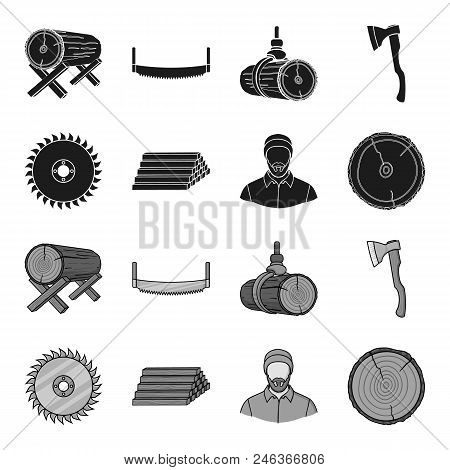 Circular Saw, A Working Carpenter, A Stack Of Logs. A Sawmill And Timber Set Collection Icons In Bla