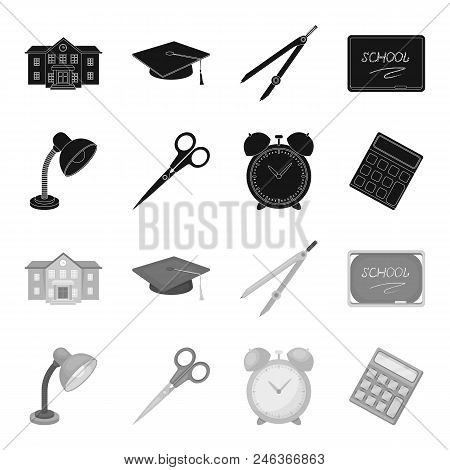 Table Lamp, Scissors, Alarm Clock, Calculator. School And Education Set Collection Icons In Black, M