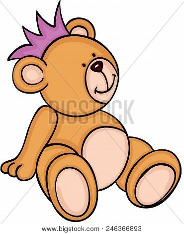 Scalable Vectorial Representing A Cute Teddy Bear Sitting With Crown, Element For Design, Illustrati