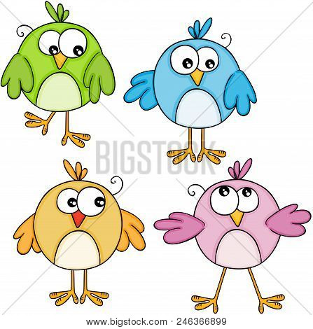 Scalable Vectorial Representing A Set Of Colorful Cute Birds, Element For Design, Illustration Isola