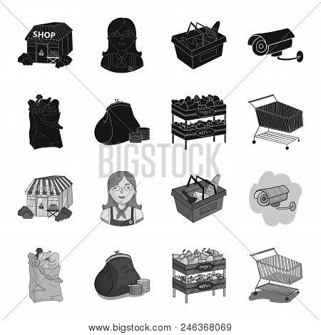 Sausages, Fruit, Cart .supermarket Set Collection Icons In Black, Monochrome Style Vector Symbol Sto
