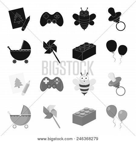 Stroller, Windmill, Lego, Balloons.toys Set Collection Icons In Black, Monochrome Style Vector Symbo