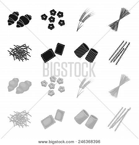 Different Types Of Pasta. Types Of Pasta Set Collection Icons In Black, Monochrome Style Vector Symb