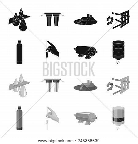 Purification, water, filter, filtration .Water filtration system set collection icons in black, monochrome style vector symbol stock illustration . poster