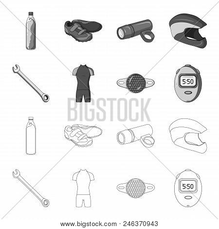A Wrench, A Bicyclist Bone, A Reflector, A Timer.cyclist Outfit Set Collection Icons In Outline, Mon