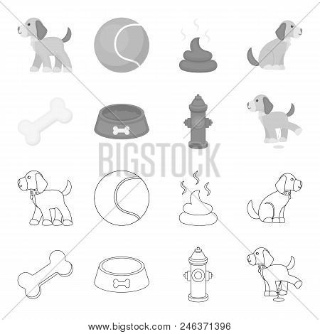 A Bone, A Fire Hydrant, A Bowl Of Food, A Pissing Dog.dog Set Collection Icons In Outline, Monochrom
