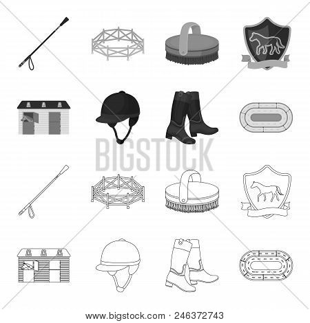 Boots, Grass, Stadium, Track, Rest .hippodrome And Horse Set Collection Icons In Outline, Monochrome