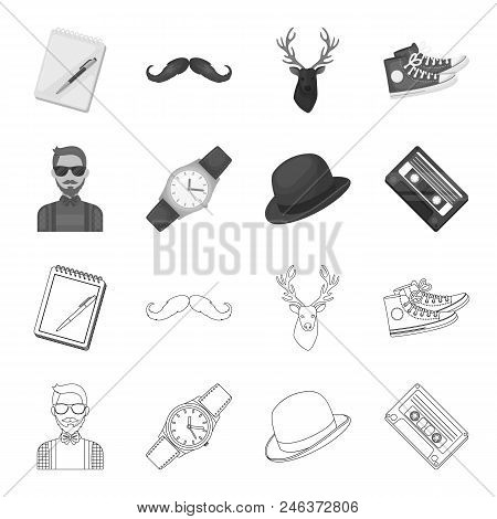 Hipster, Fashion, Style, Subculture .hipster Style Set Collection Icons In Outline, Monochrome Style