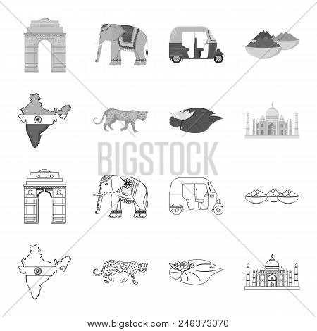 Country India Outline, Monochrome Icons In Set Collection For Design.india And Landmark Vector Symbo