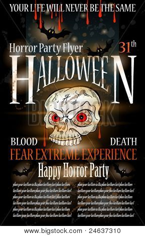 Halloween Horror Party Flyer with blood drops over the composition, grunge background and jack Skull with fear expression.