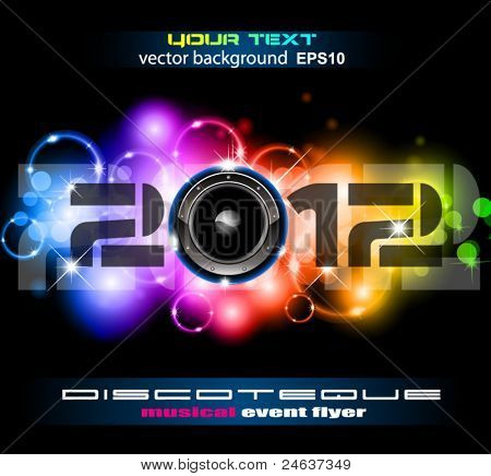 Colorful New Year Celebration Background with Glitter and Rainbow Colours. Ideal for Discoteque Event Flyer or trendy parties.