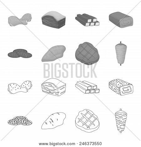 Pieces Of Salami, Turkey Fillet, Grilled Steak, Kebab.meat Set Collection Icons In Outline, Monochro