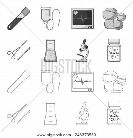 A Bank Of Vitamins, A Flask With A Solution And Other Equipment.medicine Set Collection Icons In Out