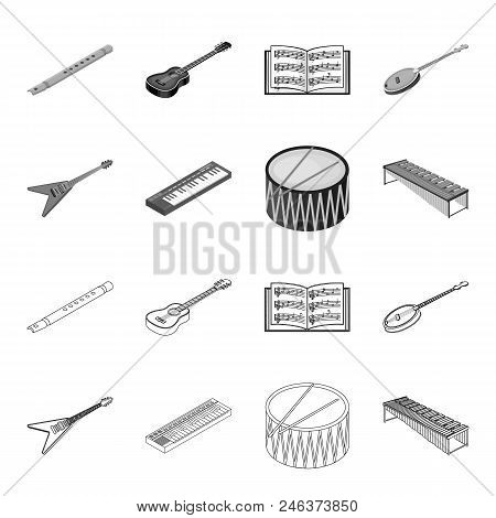 Musical Instrument Outline, Monochrome Icons In Set Collection For Design. String And Wind Instrumen