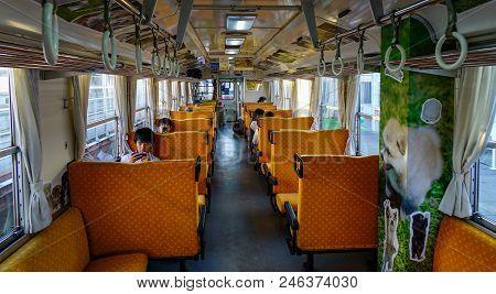 Akita, Japan - Sep 26, 2017. Passengers On The Train In Akita, Japan. Railways Are The Most Importan