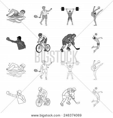 Cycling, Boxing, Ice Hockey, Volleyball.olympic Sport Set Collection Icons In Outline, Monochrome St