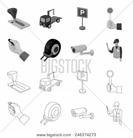 Car Alarm, Wheel Rim, Security Camera, Parking Assistant. Parking Zone Set Collection Icons In Outli