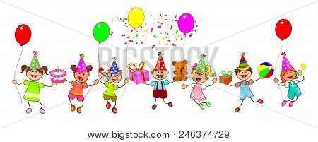 Group Of Children With Gifts And Balloons. Happy Children With Gifts On A White Background. Children