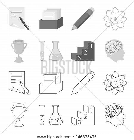 A Cup, Test Tubes With A Reagent, A Pedestal, A Man Head With A Brain. School Set Collection Icons I