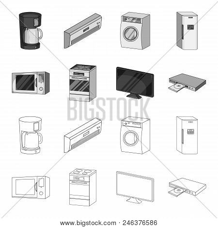 Home Appliances And Equipment Outline, Monochrome Icons In Set Collection For Design.modern Househol