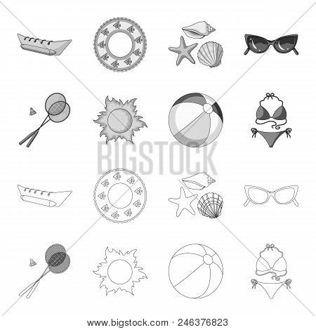 A Game Of Badminton, A Ball And The Sun.summer Vacation Set Collection Icons In Outline, Monochrome