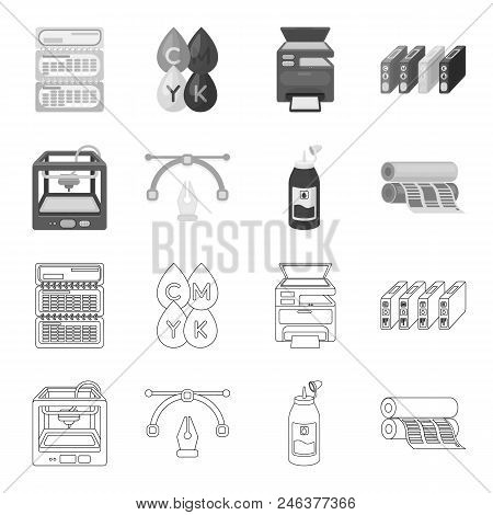 3d Printer, Newspaper Printer, Ink, Pen. Typography Set Collection Icons In Outline, Monochrome Styl
