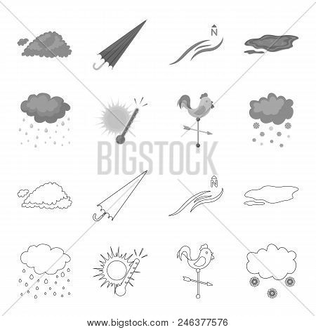 Rain, Snow, Heat, Weathervane. The Weather Set Collection Icons In Outline, Monochrome Style Vector