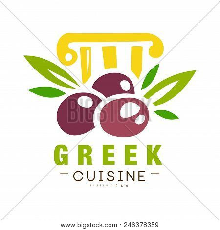 Greek Cuisine Logo Design, Authentic Traditional Continental Food Label Can Be Used For Shop, Farmer