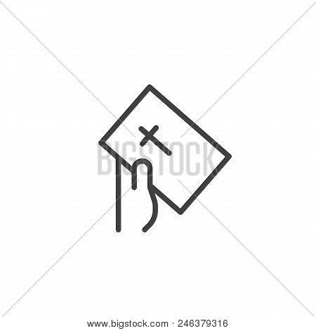 Hand Give Bible Book Outline Icon. Linear Style Sign For Mobile Concept And Web Design. Faith Simple