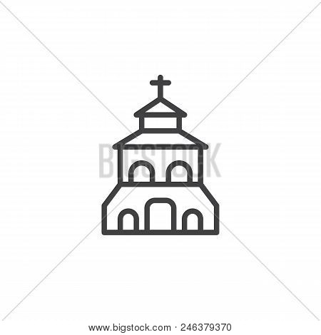 Church Building Outline Icon. Linear Style Sign For Mobile Concept And Web Design. Christian Church