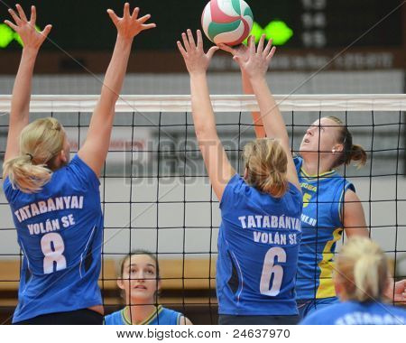 KAPOSVAR, HUNGARY - OCTOBER 2: Alexandra Csaszar (R) in action at a Hungarian NB I. League volleyball game Kaposvar (yellow number) vs Tatabanya (white number), October 2, 2011 in Kaposvar, Hungary.