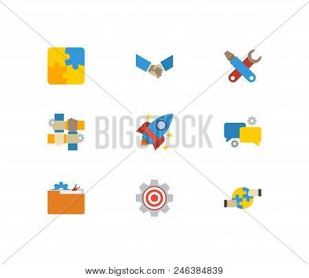 Partnership Icons Set. Handshake And Partnership Icons With Technical Development, Technical Project