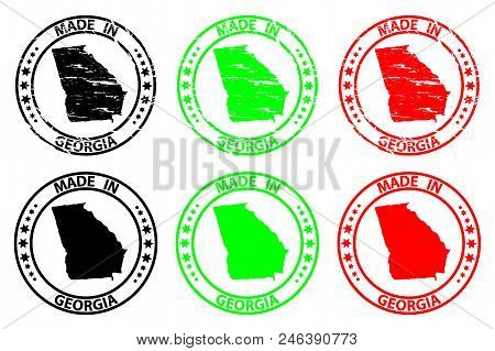 Made In Georgia - Rubber Stamp - Vector, Georgia (united States Of America) Map Pattern - Black, Gre